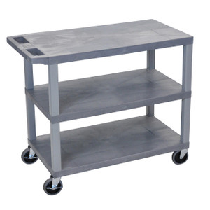 Luxor Gray EC222-G 18x32 Cart 3 Flat Shelves