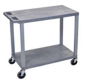 Luxor Gray EC22-G 18x32 Cart with 2 Flat Shelves