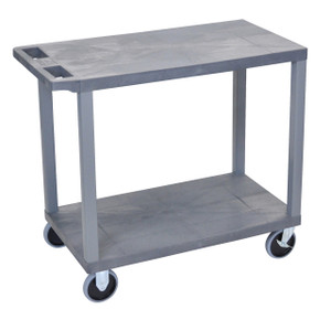 Luxor Gray EC22HD-G 18x32 Cart with 2 Flat Shelves