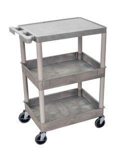 Luxor 3 Shelf Gray Tub Cart