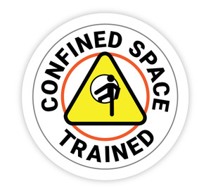 Confined Space Trained White Circular - Hard Hat Sticker