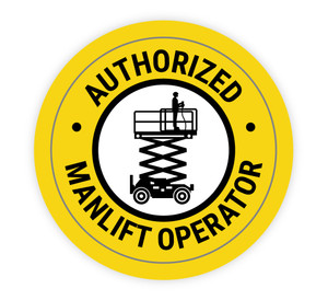 Authorized Manlift Operator - Hard Hat Sticker