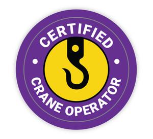 Certified Crane Operator Purple - Hard Hat Sticker