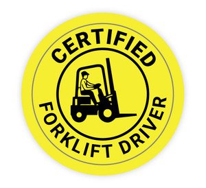 Certified Forklift Driver Yellow - Hard Hat Sticker