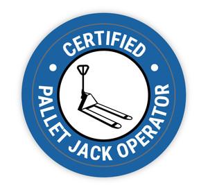 Certified Pallet Jack Operator - Hard Hat Sticker