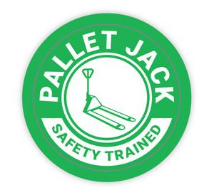 Pallet Jack Safety Trained - Hard Hat Sticker