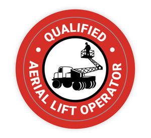 Qualified Aerial Lift Operator Red - Hard Hat Sticker