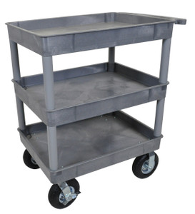 Luxor Gray 24x32 3 Tub Cart W/ P8 Casters