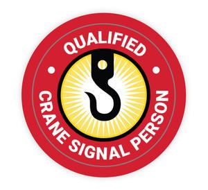 Qualified Crane Signal Person - Hard Hat Sticker