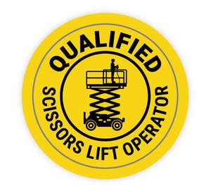 Qualified Scissors Lift Operator - Hard Hat Sticker