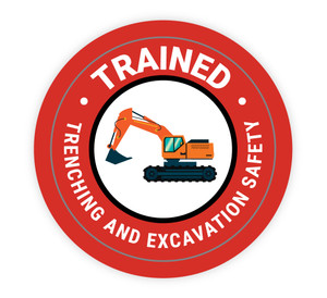 Trained Trenching and Excavation Safety - Hard Hat Sticker