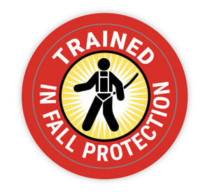 Trained In Fall Protection - Hard Hat Sticker