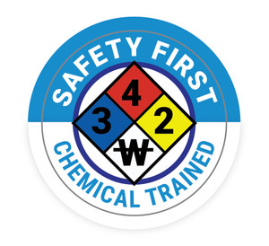 Safety First Chemical Trained with NFPA Symbol - Hard Hat Sticker