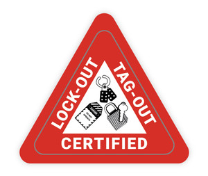 Lock-Out Tag-Out Certified Triangle - Hard Hat Sticker