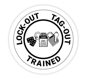 lock-Out Tag-Out Trained White - Hard Hat Sticker