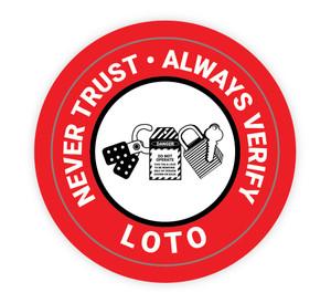 Never Trust - Always Verify LOTO - Hard Hat Sticker
