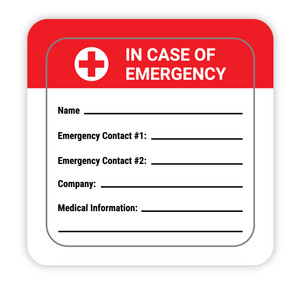 In Case of Emergency with Write in Emergency Contact Info - Hard Hat Sticker