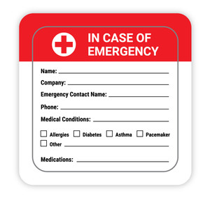 In case of Emergency with Write in Emergency Contact and Medical Info - Hard Hat Sticker