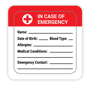 In Case of Emergency with Write in Medical Info - Hard Hat Sticker