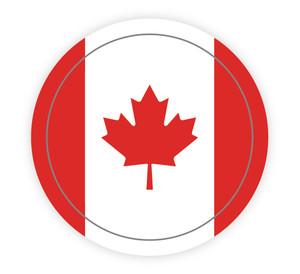 Canadian Flag Circle - Hard Hat Sticker