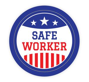 Safe Worker Patriotic - Hard Hat Sticker