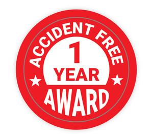 Accident Free 1 Year Award - Hard Hat Sticker