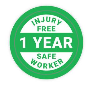 Injury Free Safe Worker 1 Year - Hard Hat Sticker