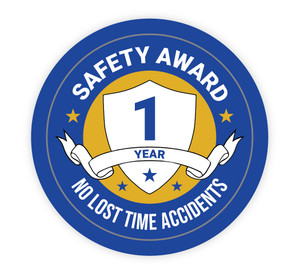 1 Year Safety Award - No Lost Time Accidents - Hard Hat Sticker
