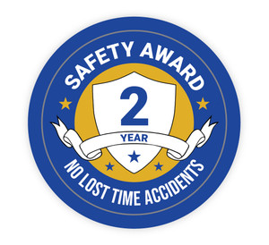 2 Year Safety Award - No Lost Time Accidents - Hard Hat Sticker