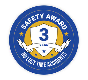3 Year Safety Award - No Lost Time Accidents - Hard Hat Sticker