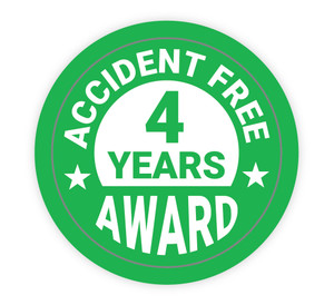 Accident Free Award 4 Years - Hard Hat Sticker