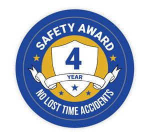 4 Year Safety Award - No Lost Time Accidents - Hard Hat Sticker