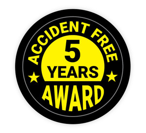 Accident Free Award 5 Years - Hard Hat Sticker
