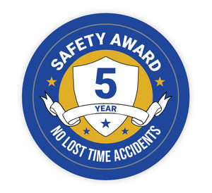 5 Year Safety Award - No Lost Time Accidents - Hard Hat Sticker