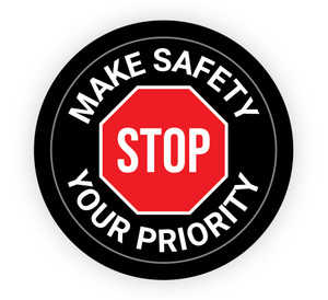 Make Safety Your Priority Stop Sign - Hard Hat Sticker