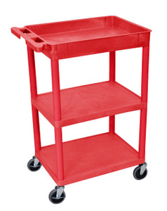 Luxor Tub Cart Red 1 Tub and 2 flat Shelves