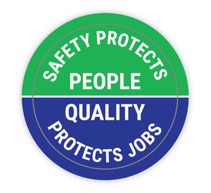 Safety Protects People/Quality Protects Jobs - Hard Hat Sticker