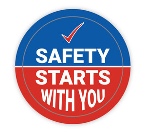 Safety Starts with You Blue and Red - Hard Hat Sticker