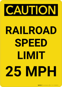 Caution: Railroad Speed Limit 25 MPH Portrait - Wall Sign