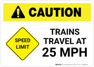 Caution: Speed Limit Train Travel at 25 MPH ANSI Landscape - Wall Sign