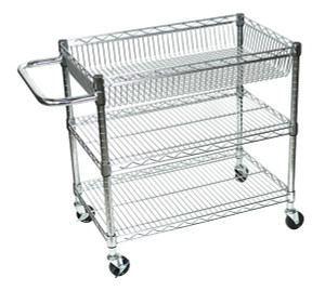 Luxor 3 Shelf Chrome Wire Tub Cart