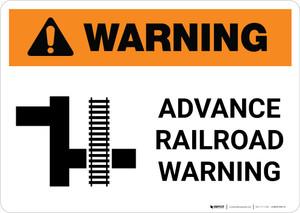 Warning: Advance Railroad Warning ANSI Landscape - Wall Sign