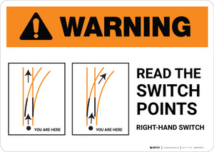 Warning: Intersection W/RR on Left or Right ANSI Landscape - Wall Sign
