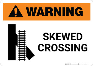 Warning: Skewed Crossing with Icon 1 ANSI Landscape - Wall Sign