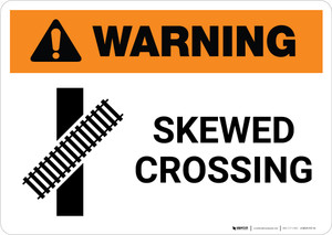 Warning: Skewed Crossing with Icon 2 ANSI Landscape - Wall Sign
