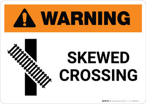Warning: Skewed Crossing with Icon 3 ANSI Landscape - Wall Sign