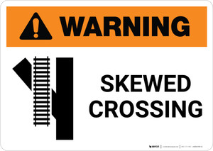 Warning: Skewed Crossing with Icon 4 ANSI Landscape - Wall Sign