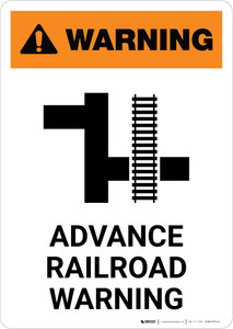 Warning: Advance Railroad Warning ANSI Portrait - Wall Sign