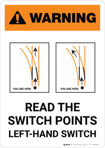 Warning: Read the Switch Points - Right-Hand Switch ANSI Portrait - Wall Sign