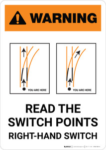 Warning: Intersection W/RR on Left or Right ANSI Portrait - Wall Sign